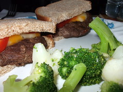 Supper Plate. (dccradio) Tags: lumberton nc northcarolina robesoncounty food eat meal yum lunch dinner supper cheeseburger hamburger meat meltedcheese catsup ketchup sandwich bread vegetables veggies cauliflower broccoli
