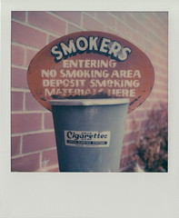 No Smoking (DavidVonk) Tags: vintage film analog instant polaroid sx70 sonar impossibleproject sign ash tray smokers smoking no cigarette sipcodunkingstation sipco dunking station butt rusty