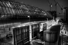 Sin City (Simon Crubellier) Tags: uk longexposure england blackandwhite bw london train canon eos blackwhite europe nightshot eurostar southbank waterloo hdr sincity eos20d interestingness7 simoncrubellier i500