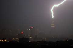 (* raymond) Tags: nyc newyork skyline night empirestatebuilding lightning lightningbolt