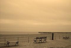 Coney Island, NY (sgrazied) Tags: ocean nyc ny beach sepia brooklyn quiet noiretblanc longisland silence coney peer panchina interphoto