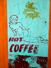 hot coffee girl (voodooangel) Tags: sf blue art stencil handpainted hotcoffee