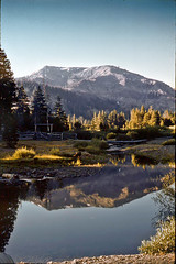 The High Sierra summer ranch (Cliff Stone) Tags: california morning mountain mountains reflection water landscape offroad bluesky scan adventure sierranevada oldpicture wideopenspaces calendarshot beautyofnature