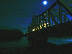 Moonlit Night Over the Mattagami (glantine) Tags: longexposure bridge blue ontario canada azul mystery night river wonder blu riviere fullmoon bleu pont moonlight blau noise nuit northernontario   mattagami   smoothrockfalls lenordontarien auclairdelalune noisiness