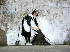 Amazing Graffiti by Banksy close to the Roundhouse - Camden Town, London (canonsnapper) Tags: london topf25 topv111 wall topv2222 graffiti interestingness bricks banksy cleaner maid camdentown broom roundhouse topvaa impressionsexpressions top20graffiti explore20 exploretop20 abigfave artlibre aplusphoto ultimateshot flickrjobdiff goldenphotographer diamondclassphotographer flickrdiamond