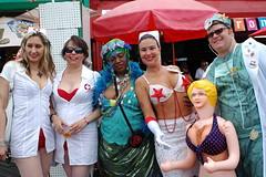 coney island hmo (a nameless yeast) Tags: nyc newyork beach brooklyn coneyisland costume doctor boardwalk mermaidparade nurs blowupdoll spectacle