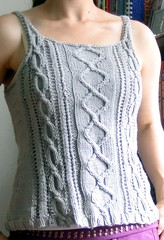 calla finished 1 (guessica) Tags: grey knitting pattern tank calla top gray silk cable yarn cotton debbie bliss cathay camisole magknits cabled saunshine