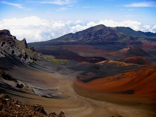 Haleakala crater volcanic debris fields