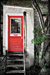 (scottintheway) Tags: door leica old red blackandwhite white black color panasonic worn address tz1