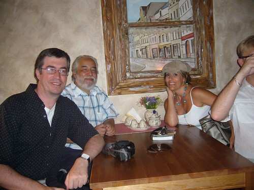 Me, Ignacio and Paula in a restaurant in Warsaw