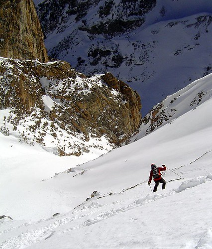 Looking for good snow below the Southeast Couloir