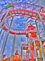 Playset to Heaven (bluescrubby) Tags: sky color colors japan clouds photoshop explore jungle gym hdr playset wakayama tanabe i500 interestingness289