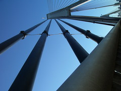 Connection (Lachlan Hardy) Tags: bridge sky concrete flag sydney angles australia diagonal cables nsw pyrmont supports thecommute anzacbridge nomanipulation pc2009 rungs auspctagged 20060706