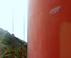 FFF (O Caritas) Tags: sanfrancisco california bridge orange graffiti stencil letters july 2006 goldengatebridge f goldengate fff nikoncoolpix8800 2006bypatricktpowerallrightsreserved