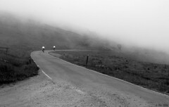 fog rolling downhill (Ale*) Tags: california road blackandwhite bicycle fog tag3 taggedout tag2 tag1 ale hills marincounty pointreyes bikers pointreyesnationalseashore utatafeature