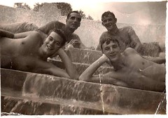 Vintage - Four Men in a Fountain (Tobyotter) Tags: shirtless blackandwhite bw man male men guy vintage vintagescans