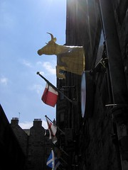 over the moon  - South Nidry Street (polyscene) Tags: sculpture art cow wire edinburgh polly poly cowgate verity wiresculpture wireart polyscene pollyverity