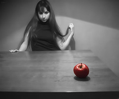 De Verleiding (sole) Tags: red woman house apple fruit table photography flickr expo thinking temptation solea