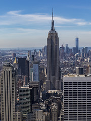 Empire State Building and One World Trade Center (Paul A West) Tags: world nyc usa newyork building rock one cityscape top manhattan center empirestatebuilding trade topoftherock the oneworldtradecenter newyork2015