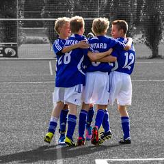 Goooooal, Mintard, Mlheim, Germany ([ PsycBob ]) Tags: bw football goal soccer celebration blau tor weiss schwarz jubel mlheim fusball weis colorkeying djk mintard torjubel colorstrokes