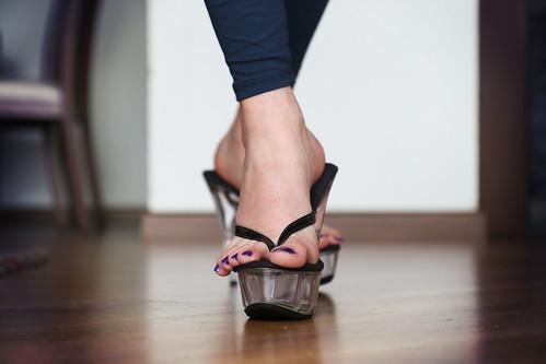 high heels thongs Clear