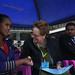 Ms. Gillian Mellsop, UNICEF Representative  to Ethiopia discuss with Yenewub Eniyew,  to their left Deputy Mayor of Gonder town
