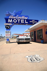 Route 66 - Blue Swallow Motel (Frank Footer Fotos) Tags: auto road new trip travel blue vacation sky usa southwest west bird art classic dusty car sign wall rural america vintage mexico outdoors photography freedom hotel town office junk highway colorful neon framed lodging small rustic fine mother murals motel roadtrip headlights 66 historic retro lobby business route nostalgia signage posters buy prints americana kicks shield motor pontiac roadside nm swallow rt bonneville attractions jalopy tucumcari