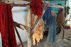 Drying silk yarns after dyeing - Yodgorlik Silk factory - Margilon Fergana Valley Uzbekistan (WanderingPJB) Tags: silkroad centralasia uzbekistan ferganavalley margilon silkfactory yodgorlik drying dyed smileonsaturday threads