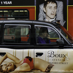 One Year (stevedexteruk) Tags: uk red black bus london advertising cross cab taxi lingerie billboard charing driver 2015 boux streand