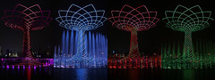Variation on the Alberto della Vita - Expo Milano 2015 (Rogg4n) Tags: nightphotography italy reflection water architecture night italia expo milano artificial universal lightshow variation notripod exibition treeoflife 2015 canoneos100d sigma1835mmf18dchsm albertodellavita