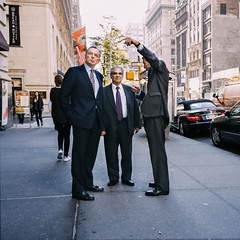 untitled (reinfected) Tags: street new york city nyc ny man men buildings outside photography suits candid tie business sidewalk pointing blazer