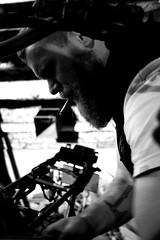 Garage (FR4GIL3) Tags: france men tattoo beard mechanical pentax cigarette smoke garage moto motorcycle custom viking barbe k5 kustom mécanique