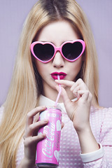 Doll's House (vivianeizzo1) Tags: camera pink light portrait colour girl beauty fashion studio photography glasses clothing model hands nikon doll dress heart cola skin drink shaped pastel flash drinking barbie indoor blogger lips pale blonde shooting lipstick delicate moschino coca porcelain styling