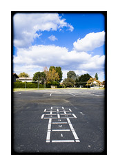 Hopscotch (AnotherCalifornia) Tags: school sky urban playground clouds children play suburbia wideangle games suburbs hopscotch 18mm