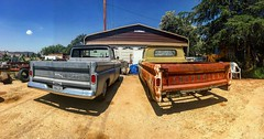 Chevy C10 trucks (El Cheech) Tags: popsshop garage sky clouds lowrider classictrucks project patina rust hotrod lowered smallwindow bigwindow shortbed longbed truck pickup c10 chevrolet chevy