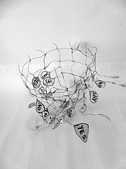 yes i can say no (Ines Seidel) Tags: wire words expression cage yes no object abstract bw draht papier paper objekt