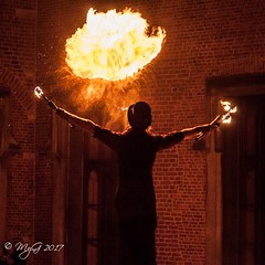 Summoning a Fire Spirit !!! (Mike Y. Gyver ( Organize in Albums)) Tags: fire fireshow meise myg 2017 d90 dephtoffield depthoffield dof nikon nikkor18105 nightscape warm orange belgium belgique bruxelles brussels