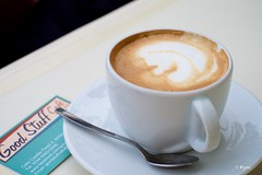 """""""Good Stuff"""" (Kym.) Tags: andalucía andalusia café cappuccino coffee day9 goodcoffee goodstuff nerja somebodyelseskitchen spain"""