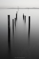 Sticks (leecaine) Tags: wales rhos jetty sea uk sticks bw calm reflection reflections le wood wooden
