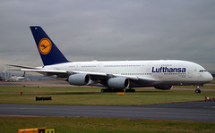 Lufthansa A380-841 D-AIMH. 03/01/17. (Cameron Gaines) Tags: cn 070 first flew toulouse blagnac 9th december 2010 fwwsg prior being delivered lufthansa 7th july 2011 daimh the aircraft was named new york airbus a380841 taxiing down charlie manchester lh441 frankfurt operating iahmanfra 030117 divert a380 a380800 egcc kiah american houston texas germany main whale green grass sky cloud international airport avgeek airfield airliner aeroplane for crew change drop off parts another 0301