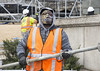 """""""Wait till he puts his mask on..."""" (Tim Brown's Pictures) Tags: nationalmall lincolnmemorial washingtondc tower scaffold pipes cold construction constructionworkers winter workers mask facemask"""