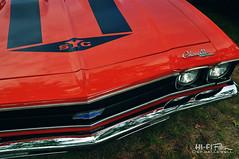 Super Chevelle (Hi-Fi Fotos) Tags: 1969 chevy yenko super chevelle bowtie grile red chrome hood stripes american musclecar classiccar beauty nikon d5000 hififotos hallewell