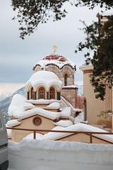 Mountain Monastery (kt~akai) Tags: orthodox oldstylecalendar cyprian justina temple monastery complex cross snow winter roof tiles hellas attika church sunday morning asshotincamera nopostprocessing