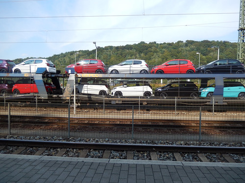 Bad Schandau tracks and a train carrying cars