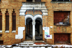 Goodness Gracious (DetroitDerek Photography ( ALL RIGHTS RESERVED )) Tags: allrightsreserved 313 detroit highlandpark apartment building closed abandoned damaged ruin economy michigan midwest usa america hdr 3exp entrance exit exterior urban decay urbandecay godnessgracious kevingilbert california songwriter detroitderek door window dilapidated february 2017 canon 5d mkii digital motown motorcity available sign thud lost local broker