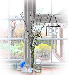 A Window on the World (Feathering the Nest) Tags: window side bouquet pussywillow gypsophila freesia frame glass dragonfly reflections countryside art friendship globes icehotelcandleholder hearts