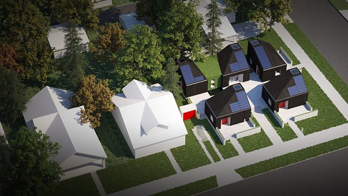 Aerial drawing of house from Washington State, as it is planned for its final location after the Solar Decathlon 2017 in a village of tiny homes.