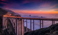 Nightfall (Simon Huynh) Tags: bixbybridge bigsur sunset nightfall seascape lighttrails