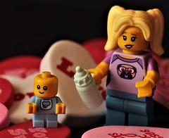 The Babysitter... (catherine4077) Tags: lego minilegosfigurines minifigures baby babysitter valentines valentinesday fun