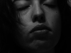 With eyelashes on the nose and with lips thinking of you. (mynikonismyfourtheye) Tags: bw portrait lips bn black grey mirror nikon l820 light coolpix eyeslashes hair